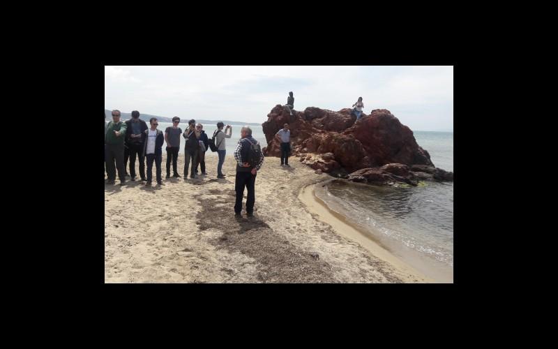Katılımcılar kıyı şeridinde inceleme yaparken