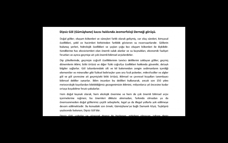 Jeomorfoloji Derneği'nin Dipsiz Göl Hakkındaki Basın Bildirisi - Sayfa 1 (Toplam 6 sayfa)