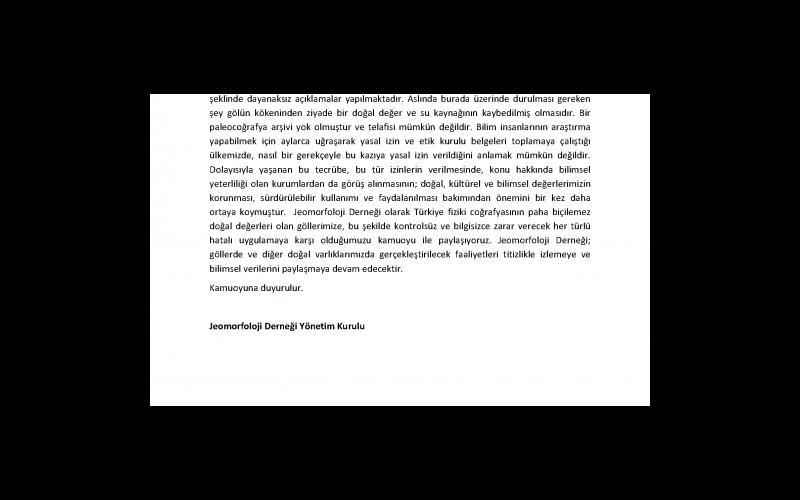 Jeomorfoloji Derneği'nin Dipsiz Göl Hakkındaki Basın Bildirisi - Sayfa 2 (Toplam 6 sayfa)